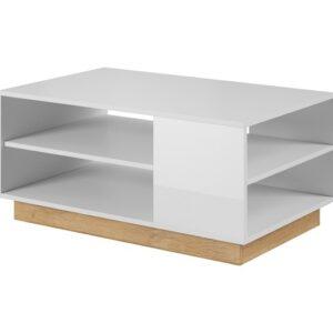 Arco konferenčný stolík Biela / Dub Grandson / Biely lesk