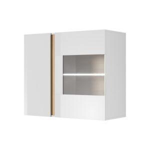 Arco nástenná vitrína Biela / Dub Grandson / Biely lesk