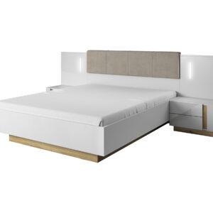 Arco posteľ 160 s nočnými stolíkmi Biela / Dub Grandson / Biely lesk
