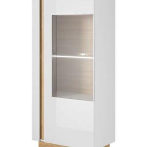 Arco vitrína nízka Biela / Dub Grandson / Biely lesk