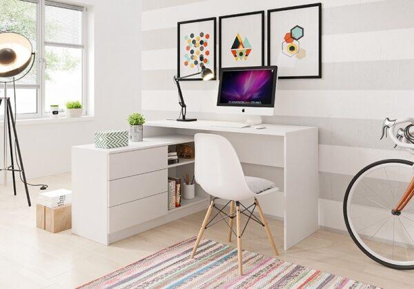 Biely písací stôl s komodou Teo