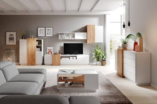 3D obývacia stena Dub craft zlatý / matná biela